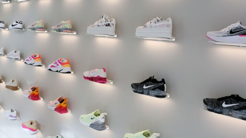 LOS ANGELES, CA-MAY 15, 2019: Shoes on display at Bandier's new location at 8101 Melrose Ave. are ph