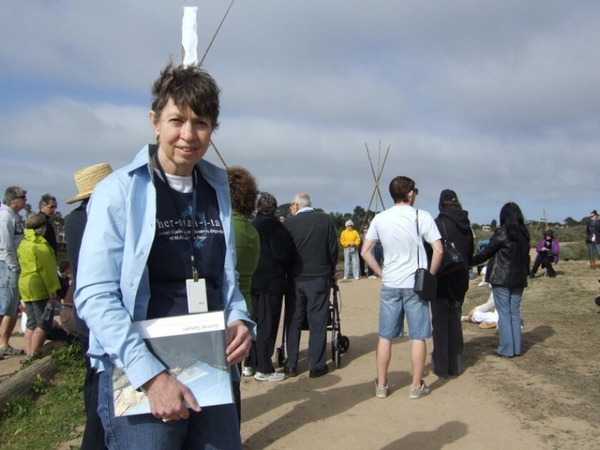 Outgoing UC San Diego Chancellor Marye Anne Fox took part in a dedication ceremony last month at Scripps Coastal Reserve. Fox helped secure funding for an entrance gate to a bluff-top portion of the reserve. Pat Sherman