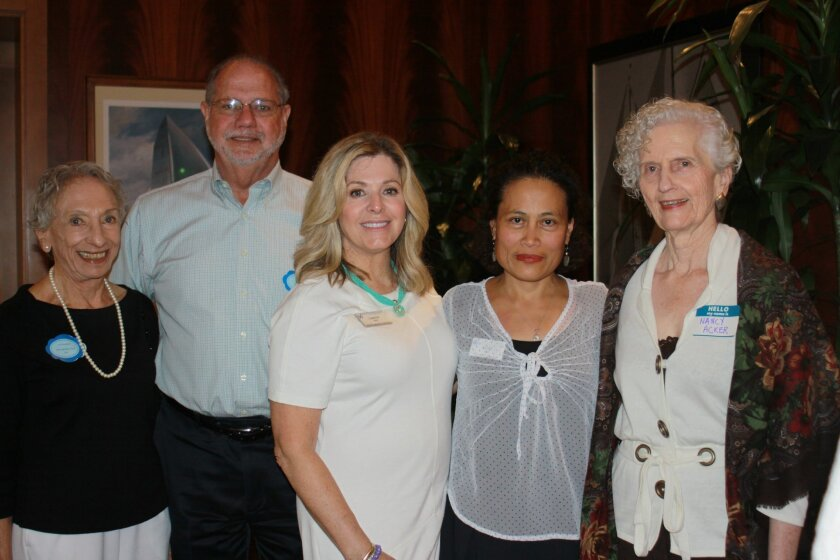 Lila Rockstein, Bill Stone of Forget-Me-Not (which brings flowers from weddings for residents to repurpose as decorations), Luanne Brito, Glory Dial and resident and volunteer Nancy Acker