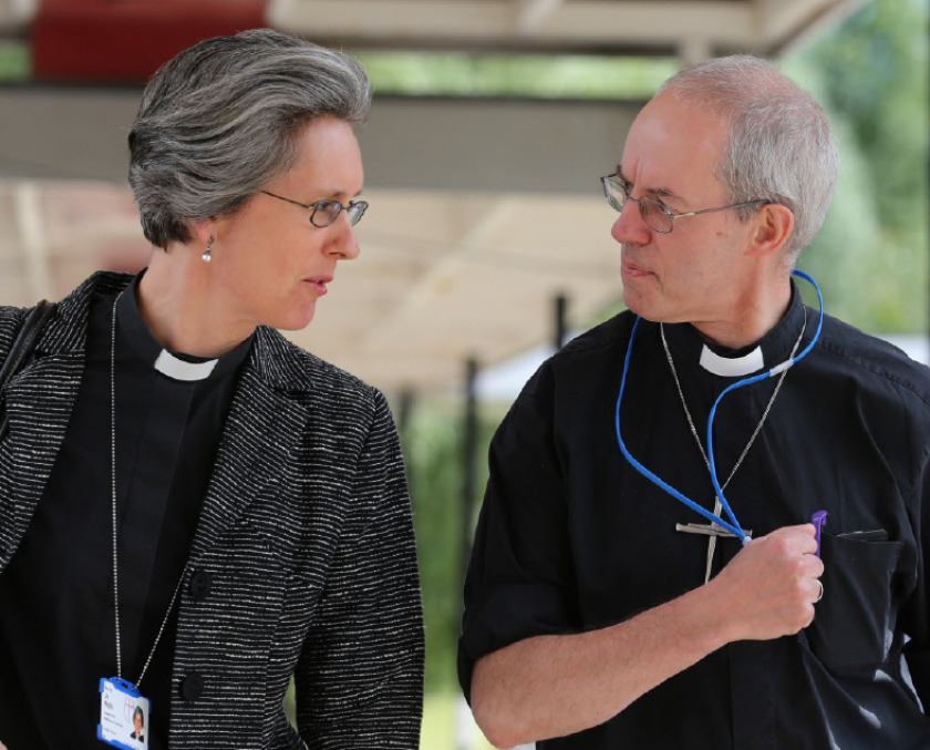 Archbishop of Canterbury Justin Welby, right, breaks for lunch with his chaplain Jo Wells during the Church of England General Synod in York.