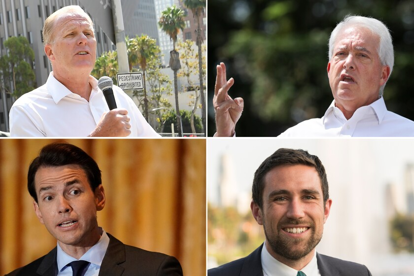 Four California recall candidates from Wednesday's debate.