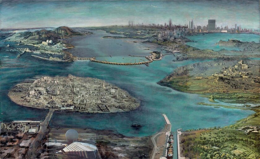 """'Aerial Survey' by Max Greis, who will open Lux's ninth season Sept. 12 with a new """"moving painting,"""" inspired by what he sees on his trip from New York to California."""