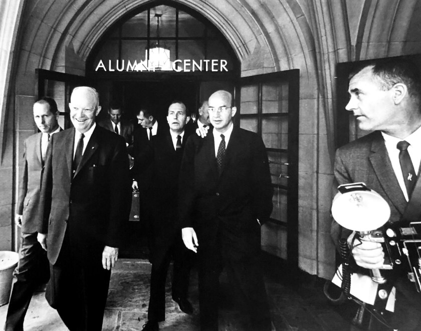 Stanley Troutman photographs Dwight Eisenhower at UCLA in 1963.