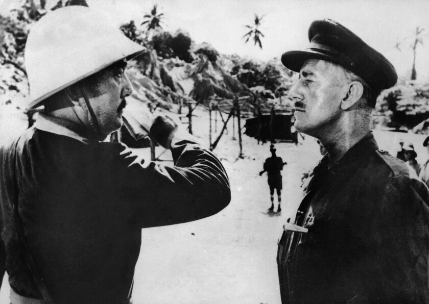 "Sessue Hayakawa, left, and Alec Guinness in ""The Bridge on the River Kwai"" (1957)."