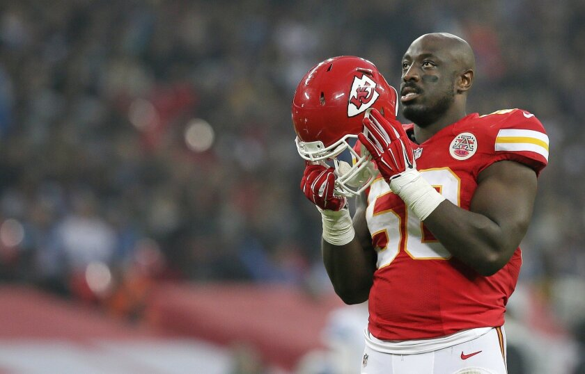 Detroit Lions outside linebacker Travis Lewis (50) stands on the field during the NFL football game between Detroit Lions and Kansas City Chiefs Wembley Stadium in London,  Sunday, Nov. 1, 2015. (AP Photo/Tim Ireland)
