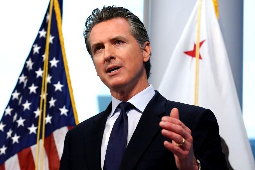 California Gov. Gavin Newsom at a news conference on March 30.