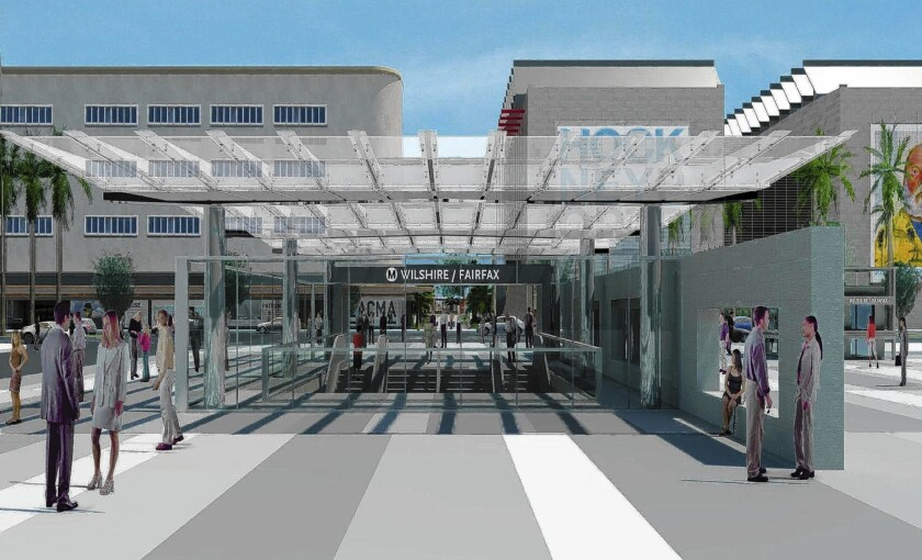 A rendering of the Purple Line station at Fairfax/Wilshire, scheduled to open in 2023.