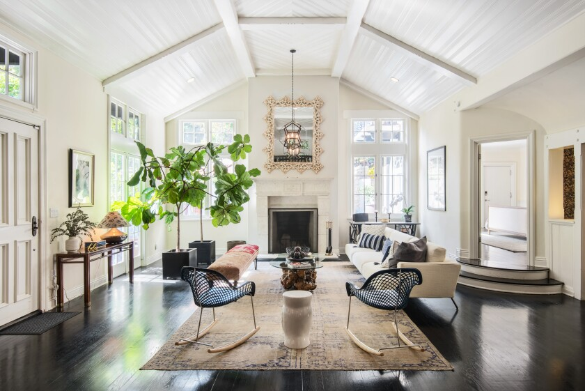A living room in the Hollywood Hills home built for silent film actress Claire Windsor.