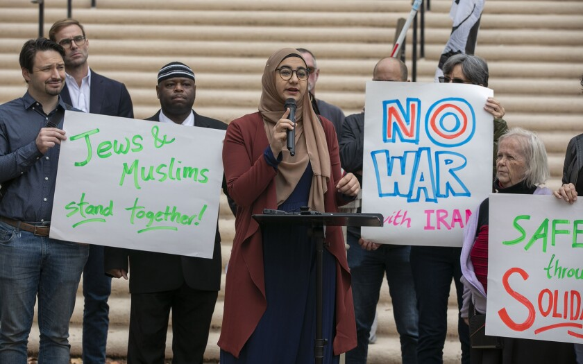 Yasmeen Obeid, a student at UCSD, representing the Muslim Student association, and a member of the American Federation of Teachers Union at a press conference that included religious leaders and community activists speaking out against a war with Iran on Wednesday, January 8, 2020 in Balboa Park.