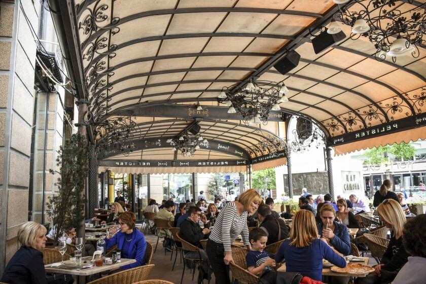 Restaurant Pelister overlooks Skopje's main Macedonia Square.
