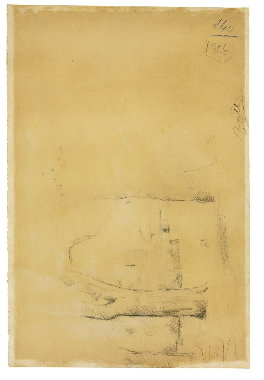 """This undated photo provided by Christie's shows a pencil drawing by Cezanne that has never been recorded in the canon of his work. It was discovered on the back side of a watercolor by Cezanne, """"Trees Along A Road,"""" estimated at $400,000-800,000, that will be offered for sale on the evening of Nov."""