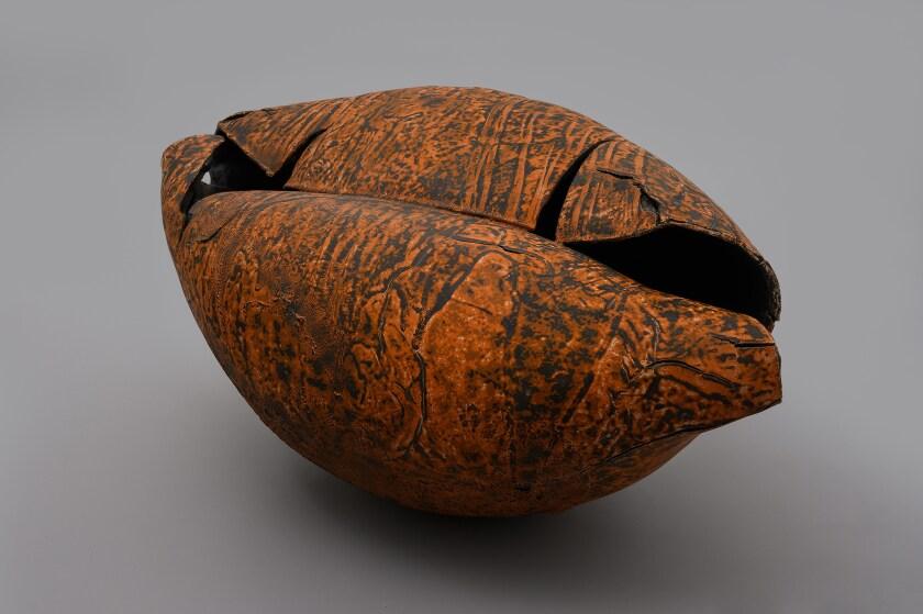 Keita Matsunaga at Nonaka-Hill. Void-monuke, 2019, ceramic, urushi, glaze.