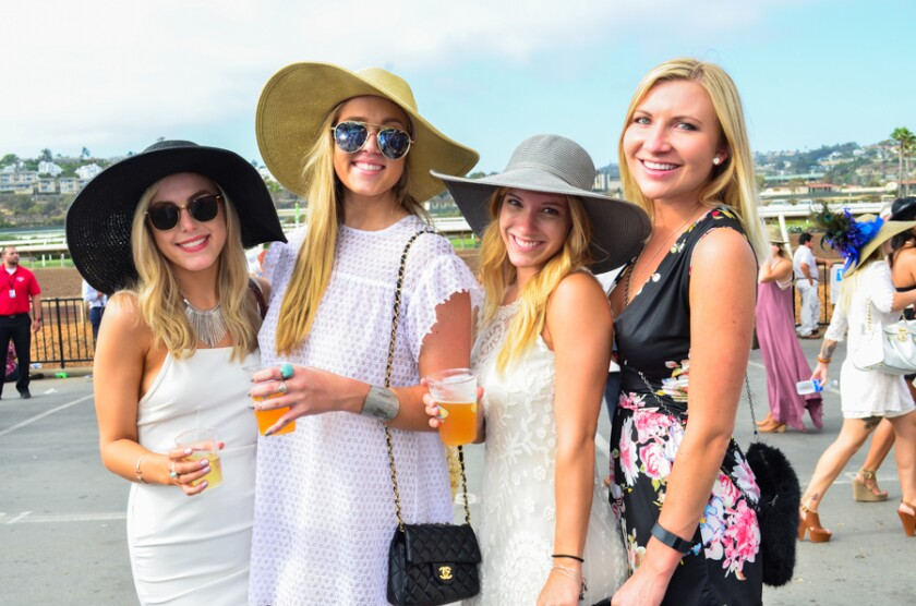 Large, ornate hats are abundant at the Del Mar Racetrack.