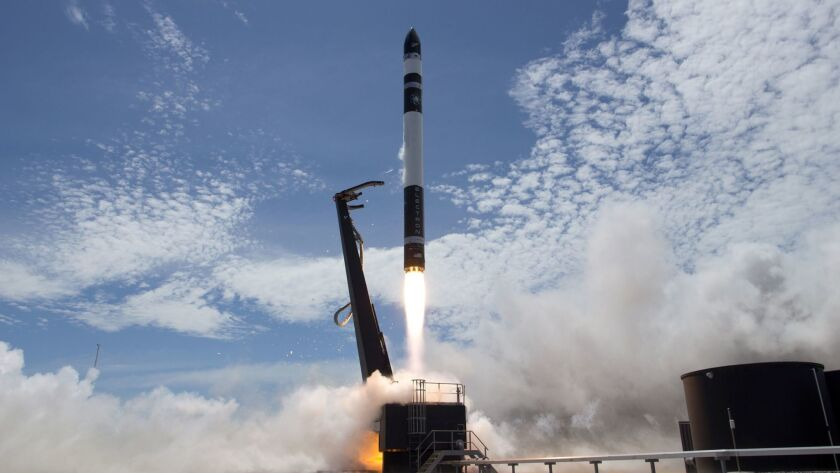 In this photo provided by Rocket Lab, Electron rocket carrying only a small payload of about 150 kil