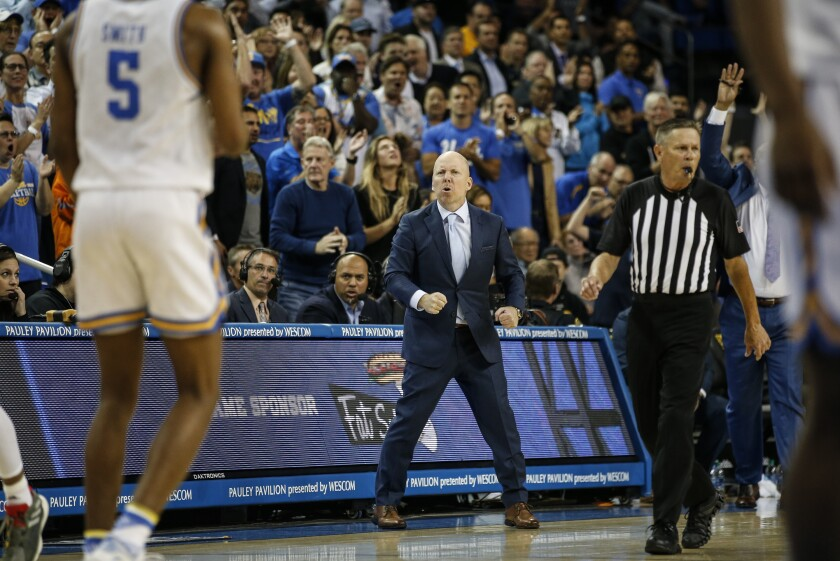 UCLA basketball coach Mick Cronin reacts on the sideline during a February game against Arizona State.