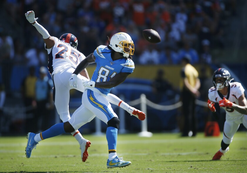 Chris Harris (25), now a member of the Chargers, breaks up a pass intended for L.A. receiver Mike Williams when the cornerback was a member of the Denver Broncos.