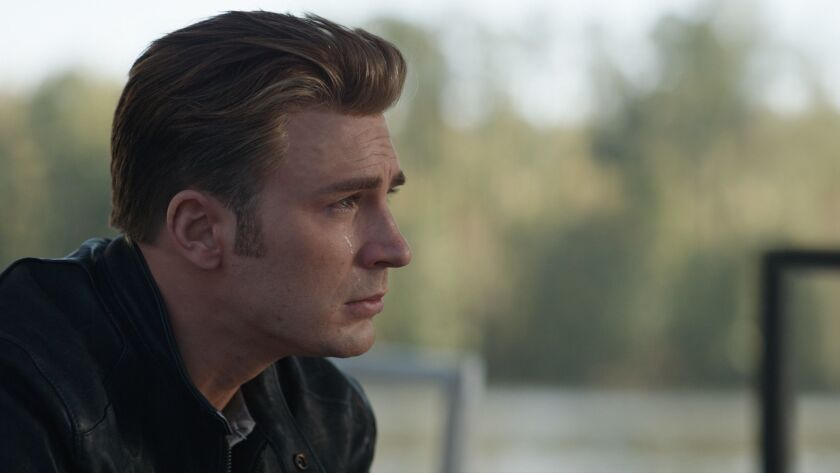 "Chris Evans in the movie ""Avengers: Endgame."""