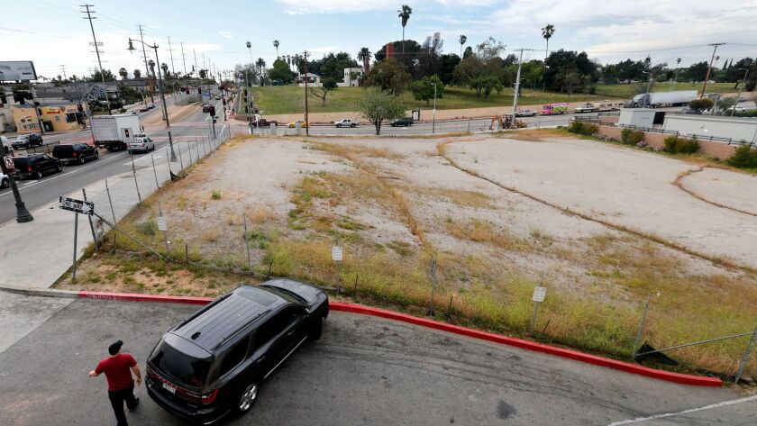 The vacant lot in Boyle Heights where A Community of Friends seeks to build homeless housing.
