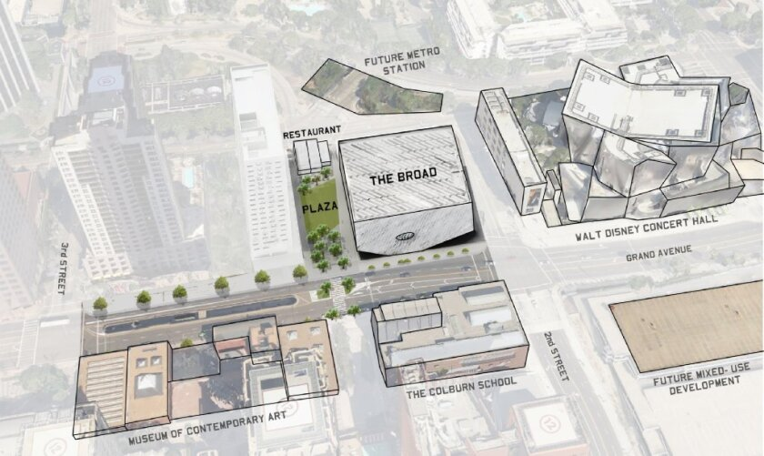 The Broad museum project will include a new public plaza that will feature a 6,000-square-foot restaurant.