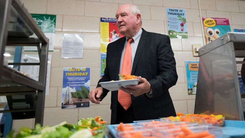 Agriculture Secretary Sonny Perdue goes though the lunch line at a Virginia grade school in 2017.