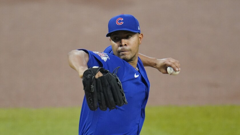 Chicago Cubs starting pitcher José Quintana delivers during the first inning against the Pittsburgh Pirates.