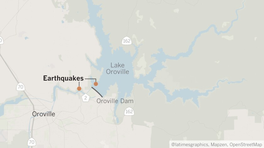 Two microearthquakes — a magnitude 0.8 and 1.0 — were recorded in the Lake Oroville area shortly after the reservoir started to spill over in mid-February.
