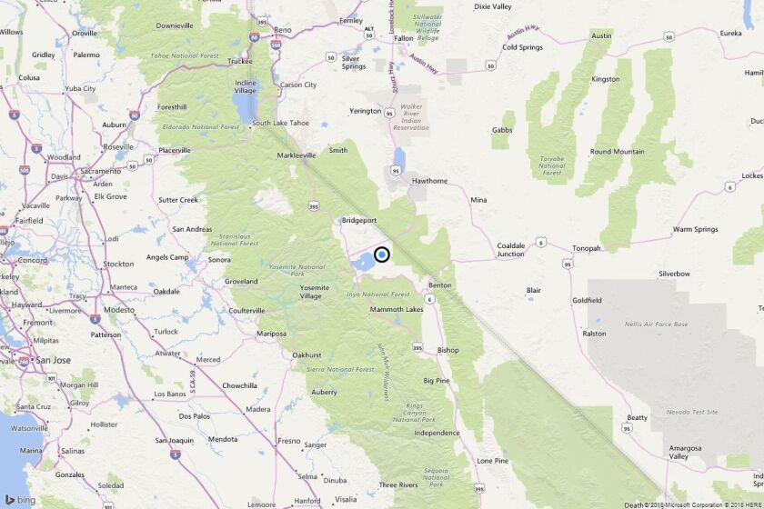 A map shows the approximate location of the epicenter of Monday morning's quake near Mono Mills, Calif.