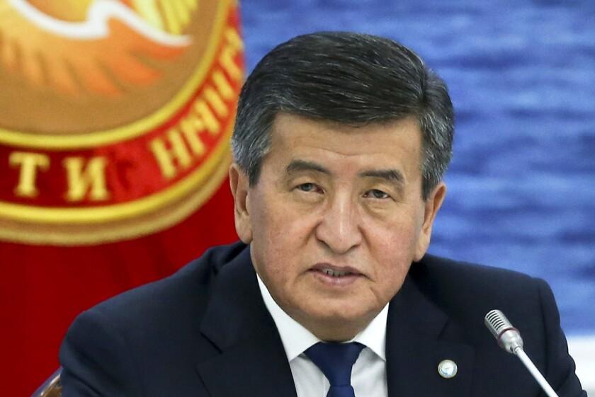 Kyrgyz President Sooronbai Jeenbekov speaks at a regional summit in Cholpon-Ata, Kyrgyzstan, in August 2019.