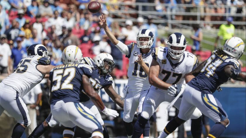 Rams quarterback Jared Goff delivers a pass against the Chargers on Sept. 23 at the Coliseum.