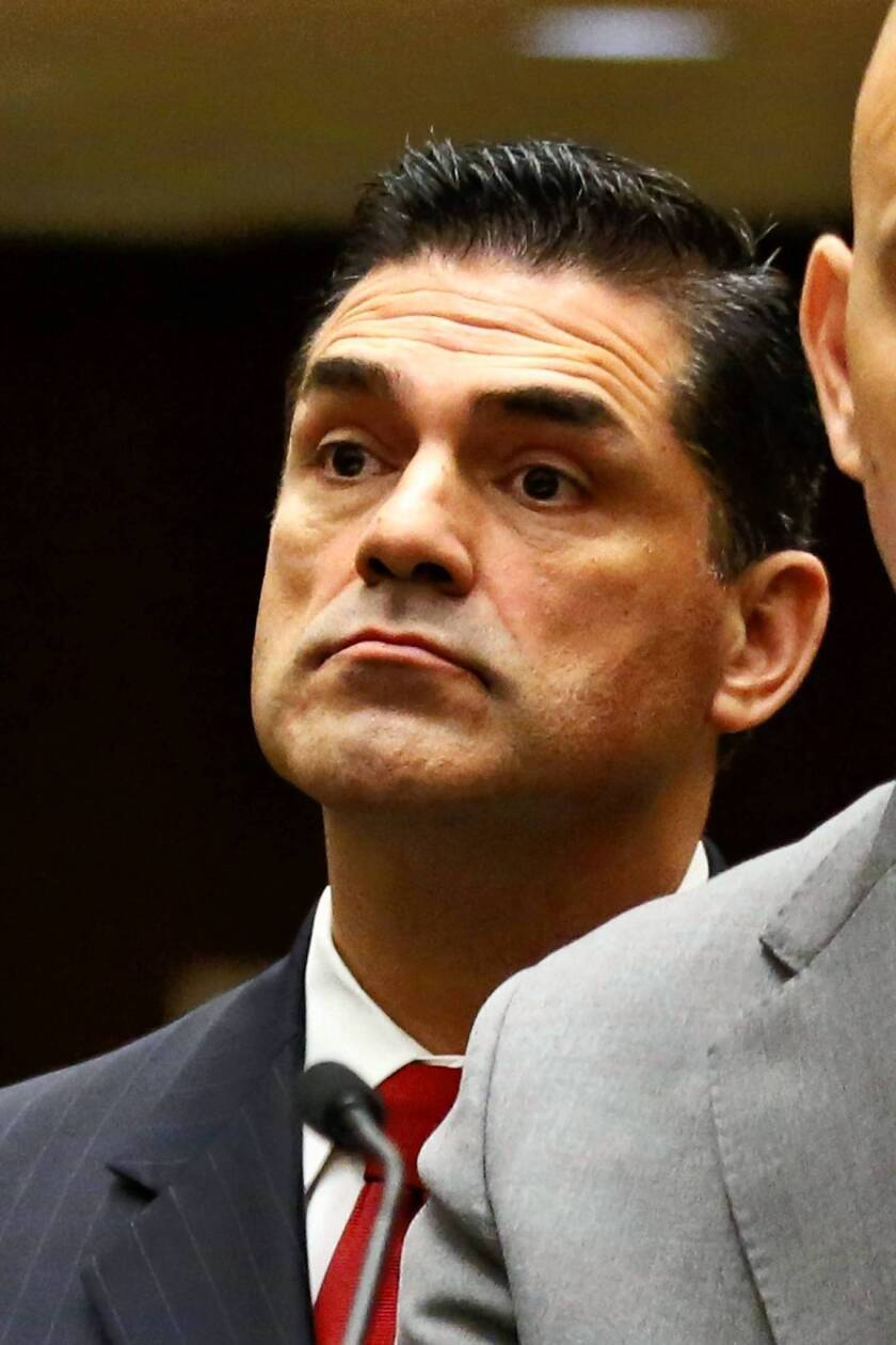 Los Angeles County Assessor John Noguez appears in court in April. Noguez took a leave of absence in June 2012 after the arrest of one of his deputies in a alleged bribery scheme.
