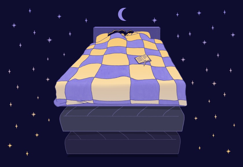 Illustration of a couple in bed, surrounded by stars and a crescent moon.