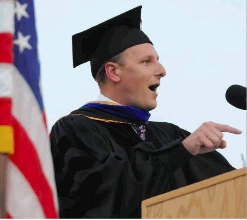 Scott Lay speaks at at Pasadena City College's commencement in 2007
