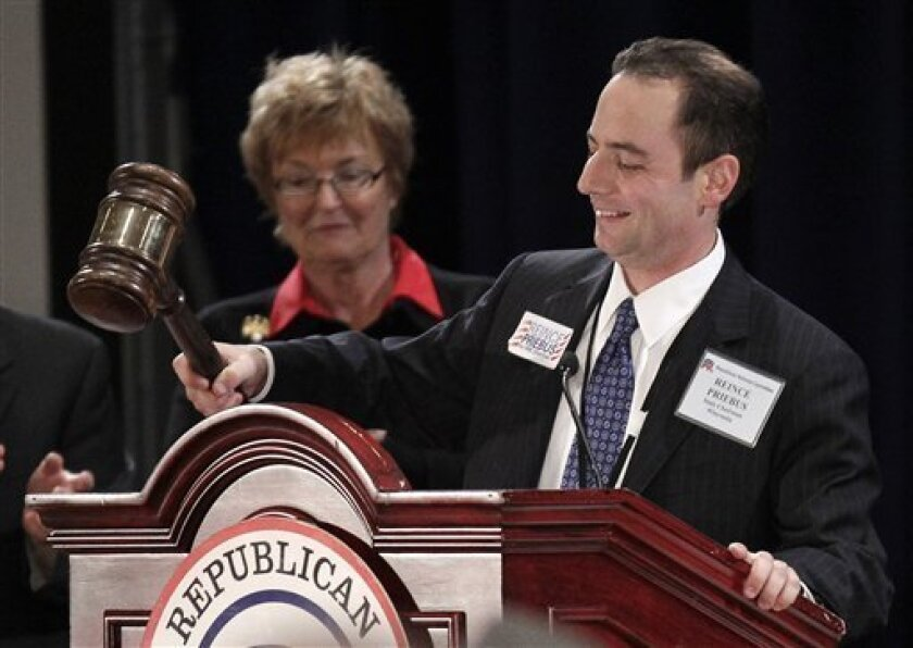 The new elected Republican National Committee (RNC) Reince Priebus bangs the gavel on the podium after winning the post during the Republican National Committee Winter Meeting, Friday, Jan. 14, 2011 in Oxon Hill, Md. Priebus was elected after seven rounds of voting, beating four other candidates, i