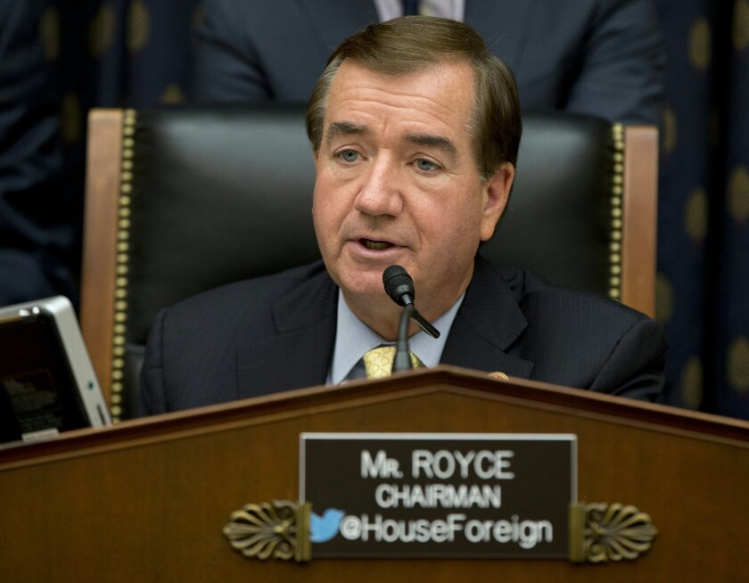 FILE - In this Sept. 18, 2014 file photo, House Foreign Affairs Committee Chairman Ed Royce, R-Calif. speaks on Capitol Hill in Washington. A bill to restrict North Korea's access to hard currency has cleared a hurdle in Congress. Pressure is growing among lawmakers for tougher action against Pyongyang's nuclear program and alleged involvement in a hacking attack on Sony Pictures. The House Committee on Foreign Affairs has approved the North Korea Sanctions Enforcement Act, which has bipartisan support. (AP Photo/Carolyn Kaster, File)