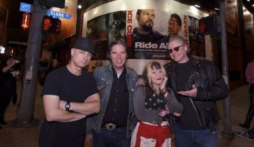 The members of X are celebrating their band's 40th anniversary this year. From left, drummer D.J. Bonebrake, singer-bassist John Doe, singer Exene Cervenka and guitarist Billy Zoom. (Courtesy photo)