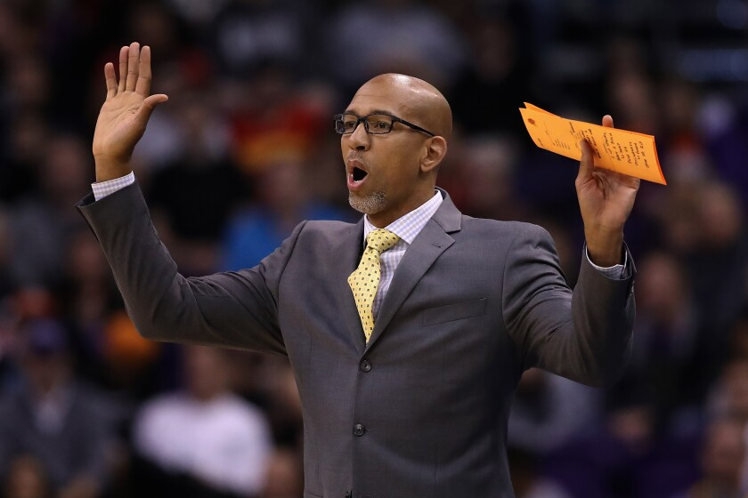 Suns coach Monty Williams reacts to a play during a game against the Jazz in Phoenix on Oct. 28, 2019.