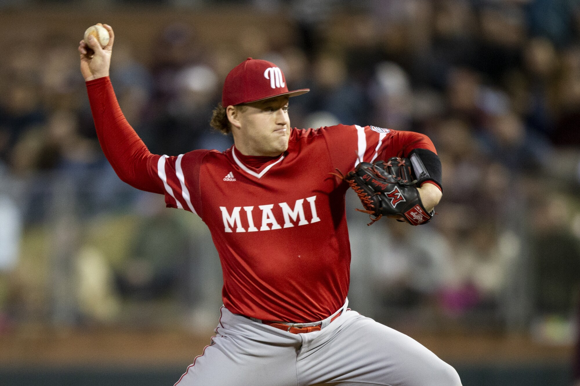 The Angels selected pitcher Sam Bachman. (AP Photo/Sam Craft)