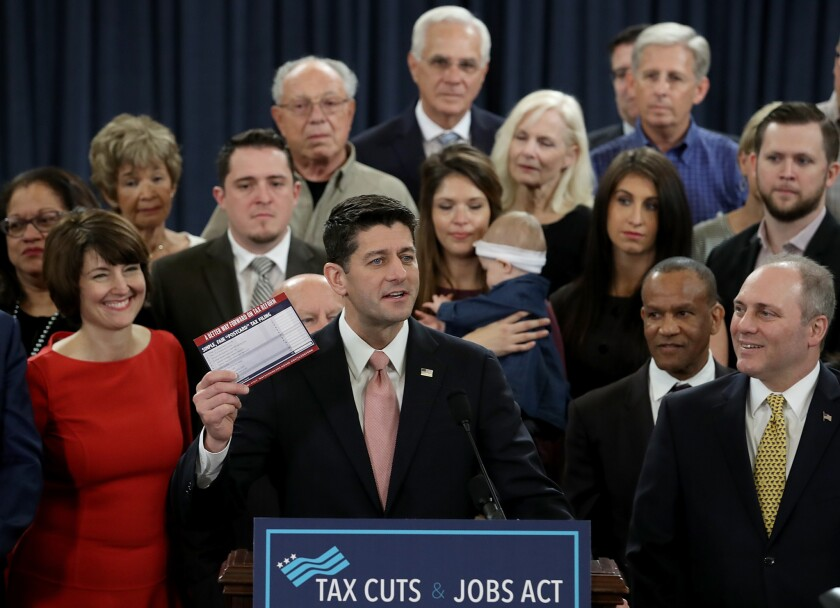 House Speaker Paul D. Ryan introduces a tax bill Thursday in Washington.
