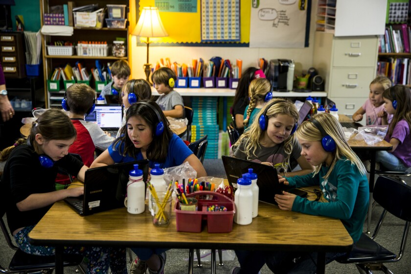 Students use Chromebooks in Joanie Bryant's class at Waggoner Elementary School in Winters.