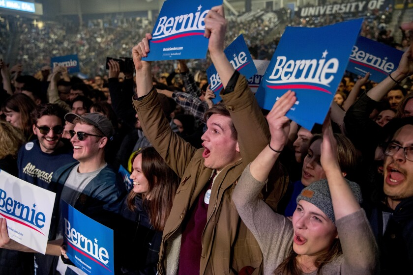 Supporters of Bernie Sanders in Durham, N.H.