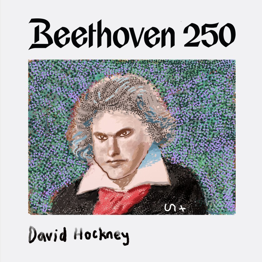 A portrait of Ludwig van Beethoven created by David Hockney on his iPad to celebrate the composer's 250th birthday.