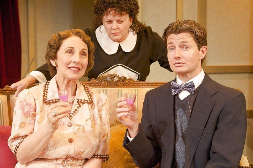 """Susan Denaker, Annie Hinton and David McBean star in the North Coast Rep's production of """"Glorious! The True Story of Florence Foster Jenkins, the Worst Singer in the World,"""" which has its amusing moments and a good cast. But all's not well in the play's local premiere. (Aaron Rumley photo)"""