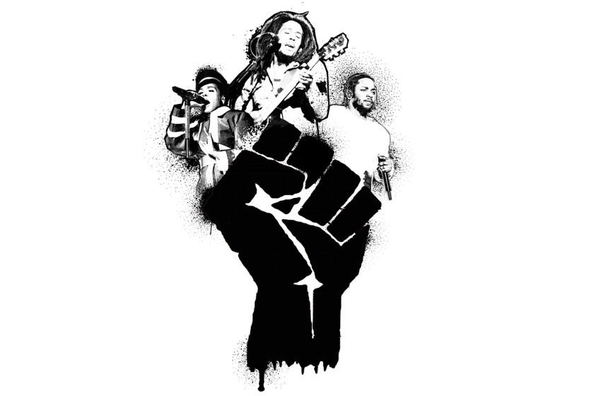 Janelle Monáe (left), Bob Marley and Kendrick Lamar
