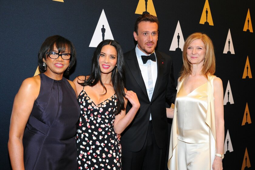 From left: Motion Picture Academy President Cheryl Boone Isaacs, actors Olivia Munn and Jason Segel and Motion Picture Academy CEO Dawn Hudson are seen at the Academy of Motion Picture Arts and Sciences' Scientific and Technical Awards Presentation at The Beverly Wilshire Hotel on Saturday, Feb. 13