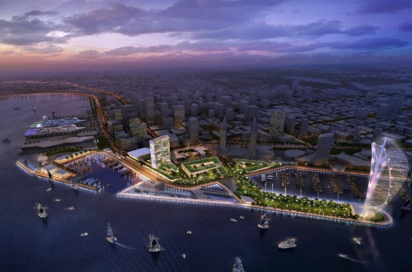 Celebration Place, proposed by Manchester Financial Group, is one of bids to redevelop Seaport Village. This entry proposes a 400-foot spinnaker-shaped gondola ride, a 500-room boutique hotel, 2,500-seat performing arts facility and shops, restaurants and office space.