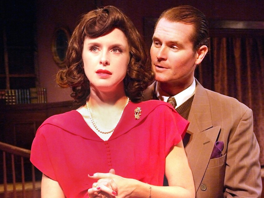 """Christine Joëlle, left, and Shawn Savage in """"Flare Path"""" at Theatre 40."""