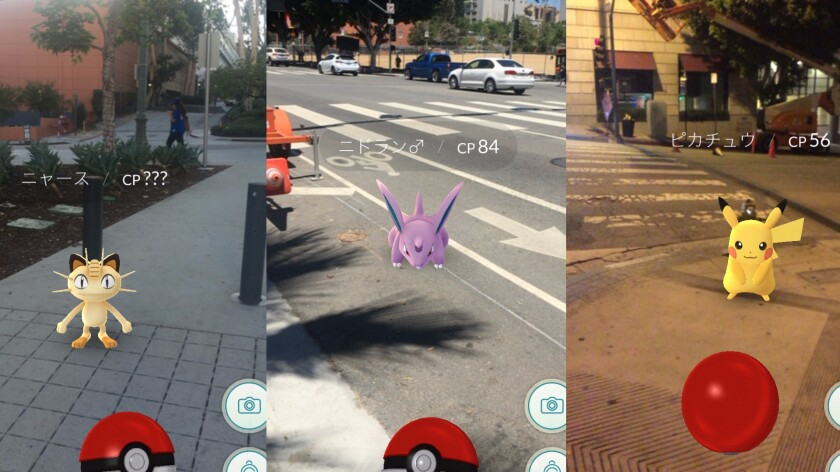 "Screenshots from the Japanese version of ""Pokémon Go."""