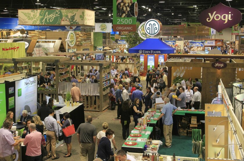Crowds gather to see the latest at the Natural Products Expo West at the Anaheim Convention Center on Friday in Anaheim, California.