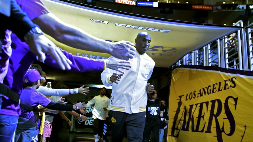 Kobe Bryant before Sunday night's game against the Pacers at Staples Center.
