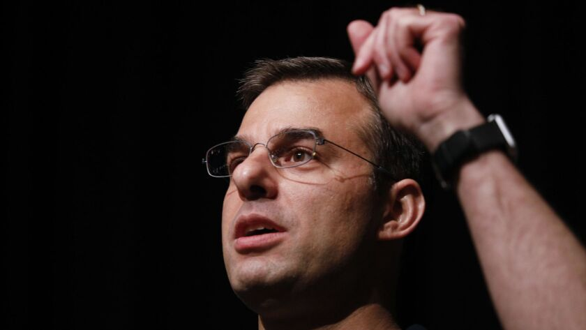 Rep. Justin Amash holds a town hall meeting on May 28 in Grand Rapids, Mich.